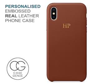 Tan Genuine Leather iPhone 12 Pro Max Case Embossed Personalised 11 Mini X Xs Xr 8 PLUS SE Initial Monogram Custom Personalized Real Brown