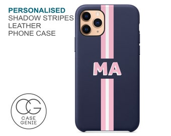 Navy Leather iPhone 12 Pro Max Case Shadow Text Stripe Personalised Initials 11 Mini X Xs Xr SE 2020 Monogram Initial Custom Personalized