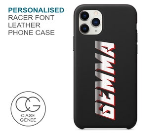 Black Leather iPhone 13 and 12 Pro Max Case Racer Font Personalised Names Mini 11 X Xs Xr 2020 8 Plus Monogram Custom Personalized Initials