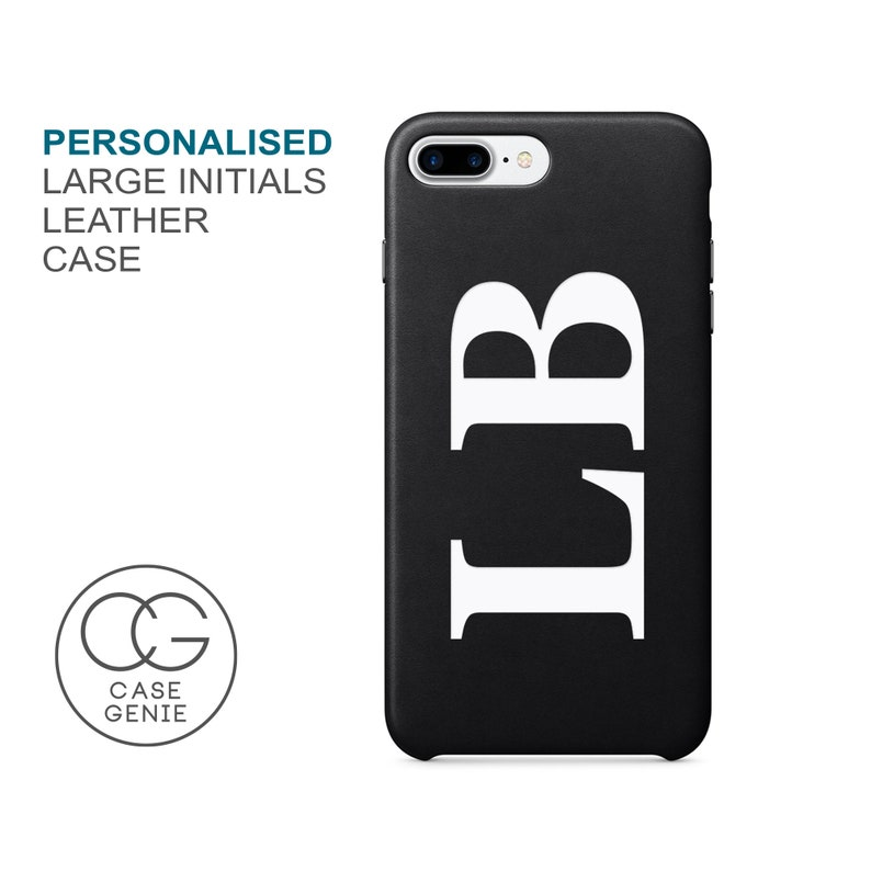 Black PU Leather Large Printed Personalised Case iPhone 11 Pro image 0