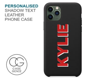 Black iPhone 13 and 12 Pro Max Leather Case Shadow Text Personalised Name Mini 11 X Xs Xr 8 PLUS SE 2020 Monogram Personalized Printed Cover