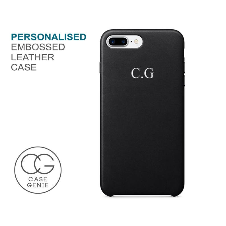 Black PU Leather Phone Case Embossed Personalised for iPhone X image 0
