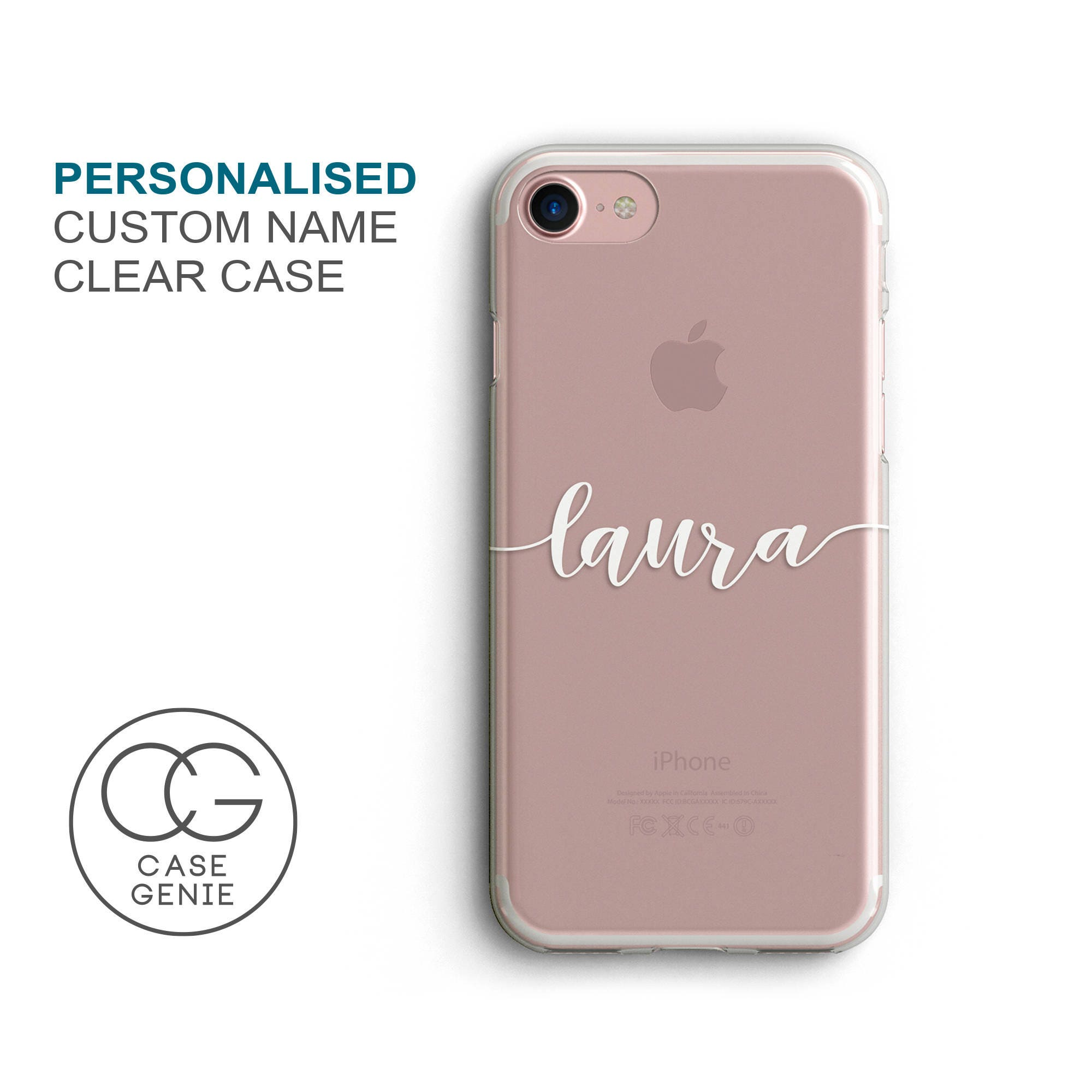 on sale ac815 882ea Personalised Handwritten Name Clear Phone Case for iPhone X Xs Xr Max 8  Plus 7 6 6s 5 5s SE S10 Cell Cover TPU Hybrid Tough Bumper Custom