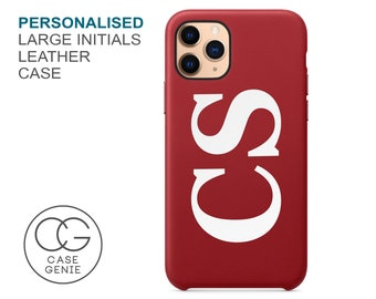 Red Leather iPhone 11 Pro Max Case Large Initials Personalised X Xs Xr 8 PLUS 7 SE 2020 Monogram Initial Custom Personalized Printed Cover