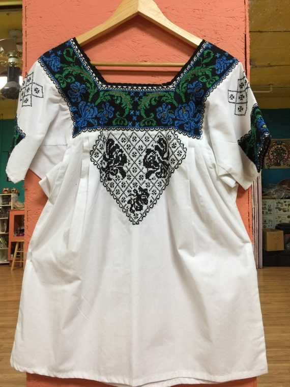 Skillfully UNIQUE Embroidered Huipil from Campeche Mexico   Etsy