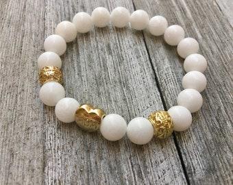White Jade, White Jade Bracelet, Boho Bracelet, Boho, Jade Bracelet, Yoga Bracelet, Mala Bracelet, Mala Beads, Lucky Stones,Stacked Bracelet
