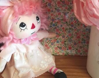 Sweet Pink Raggedy Anne Cupcake Rag Doll Cloth