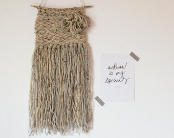 Oatmeal and Gray Woven Wall Hanging