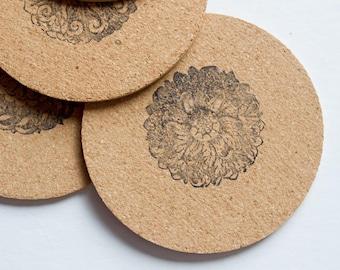 Round Floral Cork Coasters