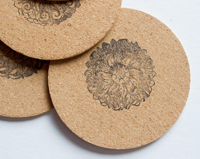 Round Floral Cork Coasters
