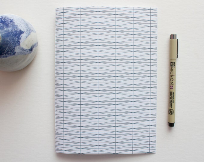 Blue & White Geometric Journal