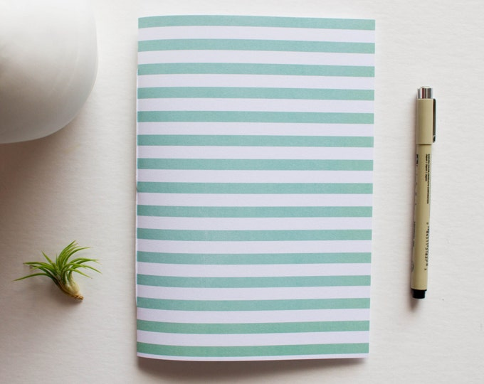 Green & White Striped Journal