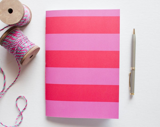 Red & Pink Striped Journal