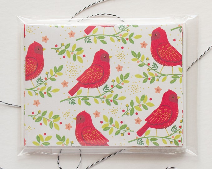 Red Bird Blank Christmas Cards