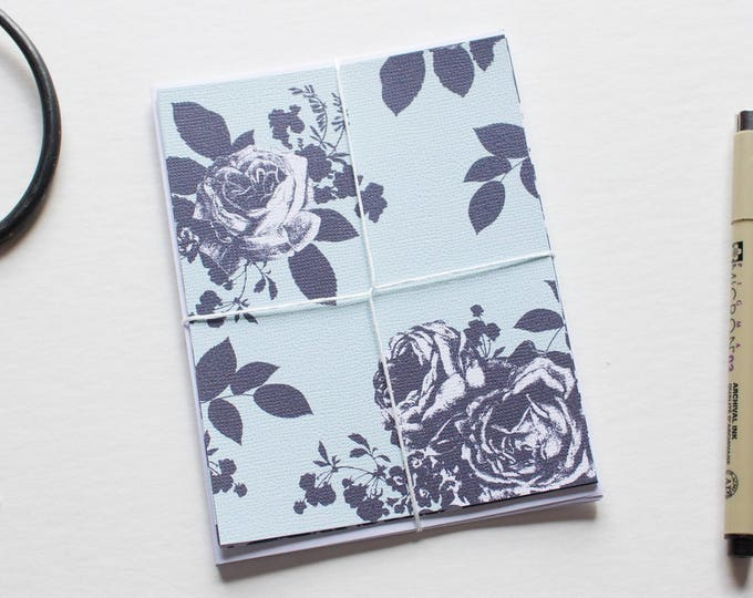 Blue Floral Flat Note Cards