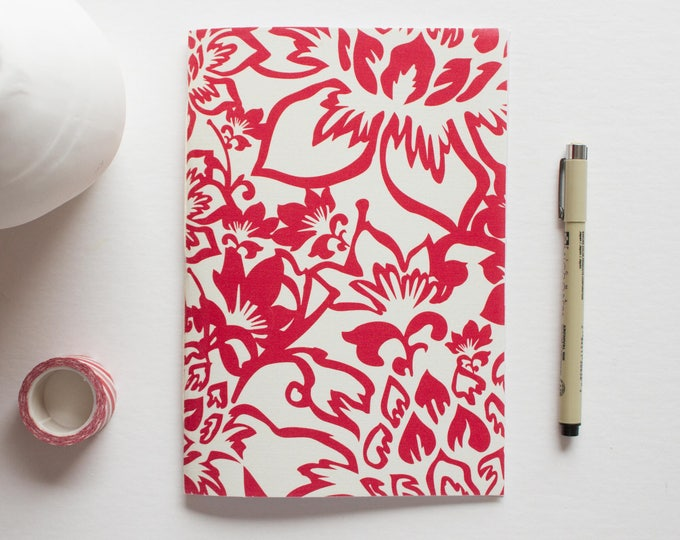 Red & Cream Floral Journal