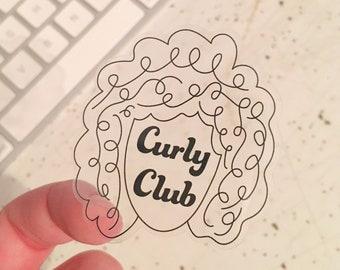 Clear Curly Club Sticker