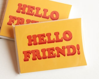 70's Inspired Hello Friend Note Cards