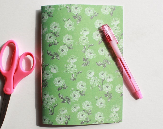 Cute Green Floral Journal