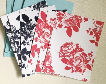 Flat Floral Note Cards