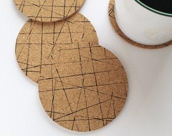 Geometric Round Cork Coasters