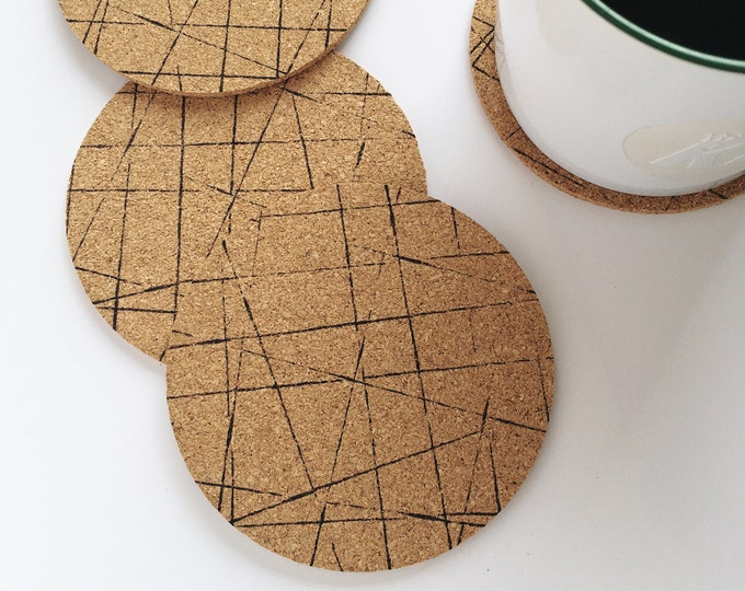 Geometric Round Cork Coasters