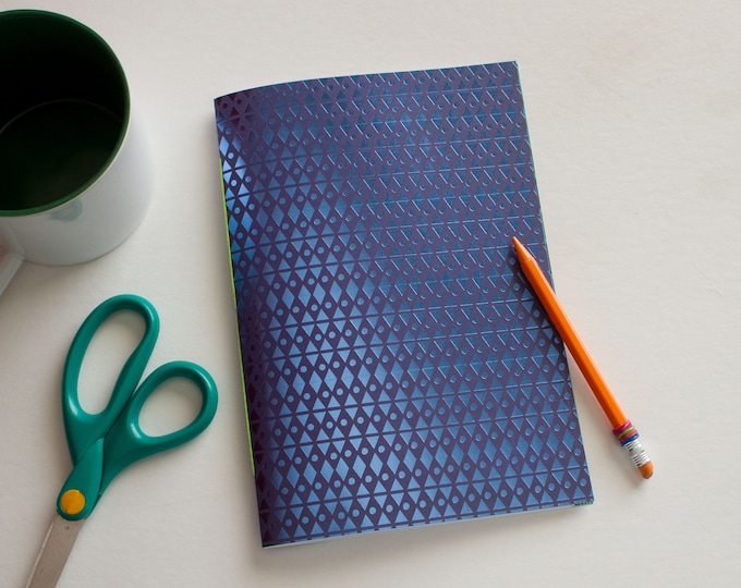 lined journal, blue and green, travelers notebook, fauxdori, blank books, lined notebook, travel journal, travel diary, blue foil, field