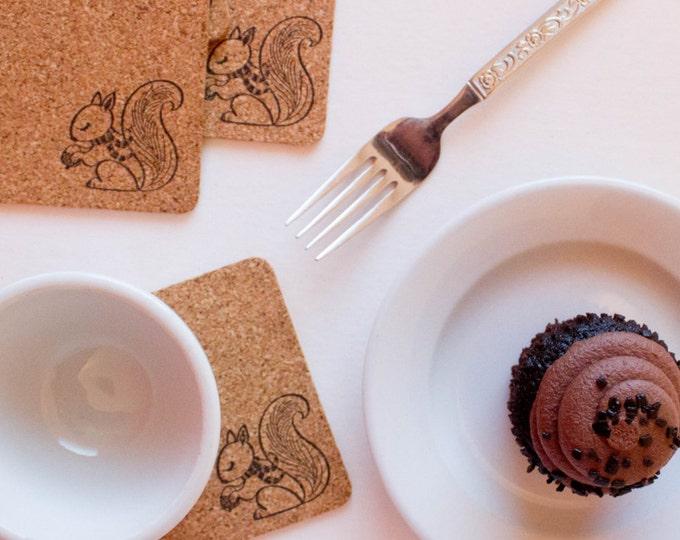 Square Squirrel Cork Coasters