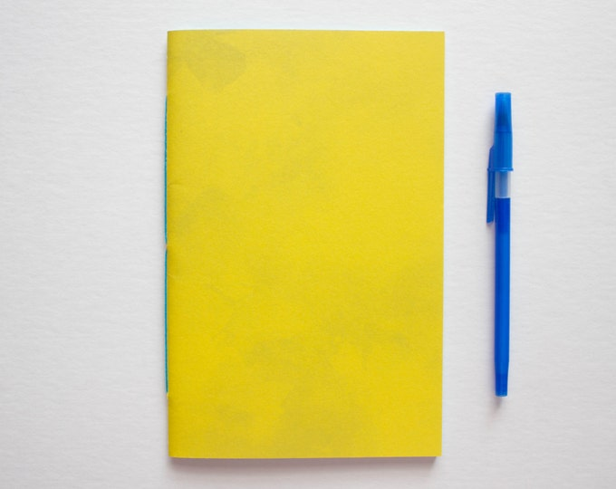 Yellow Watercolor Journal with Blue Pages