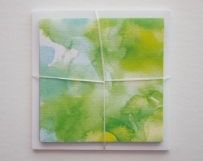 Green Watercolor Note Cards