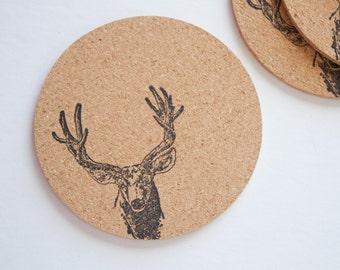 Round Deer Cork Coasters