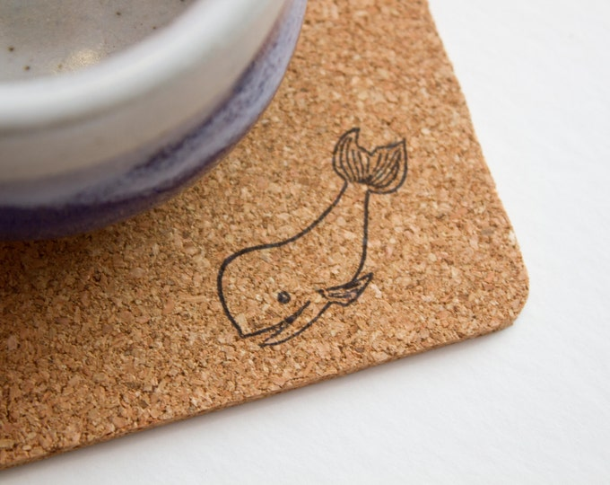 Square Whale Cork Coasters
