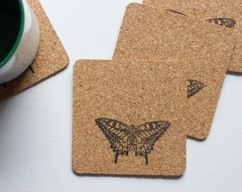 Square Butterfly Cork Coasters