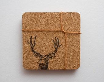 Square Deer Cork Coasters