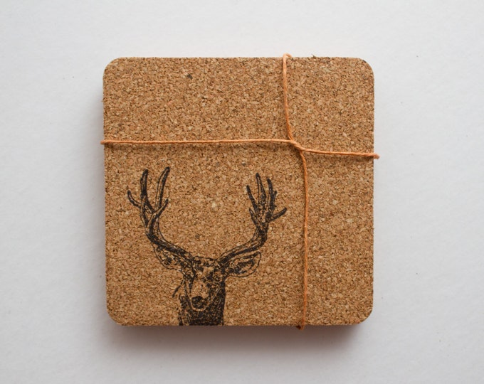 Square Deer Cork Coasters