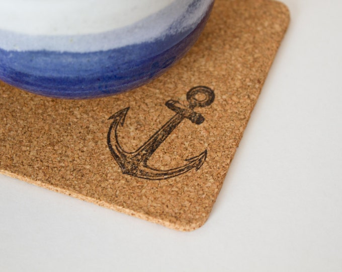 Square Anchor Cork Coasters