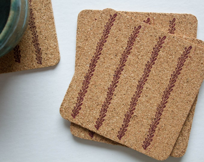 Square Leaf Cork Coasters