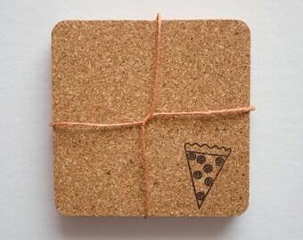 Pizza Cork Coasters