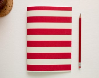 Red & Cream Striped Fabric Journal