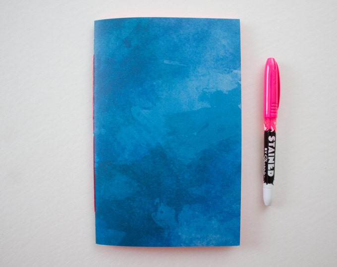 Blue Watercolor Journal with Pink Pages