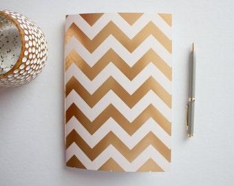 Gold Foil & Cream Chevron Journal