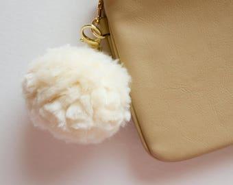 Fluffy Cream Pom Pom Keychain Charm