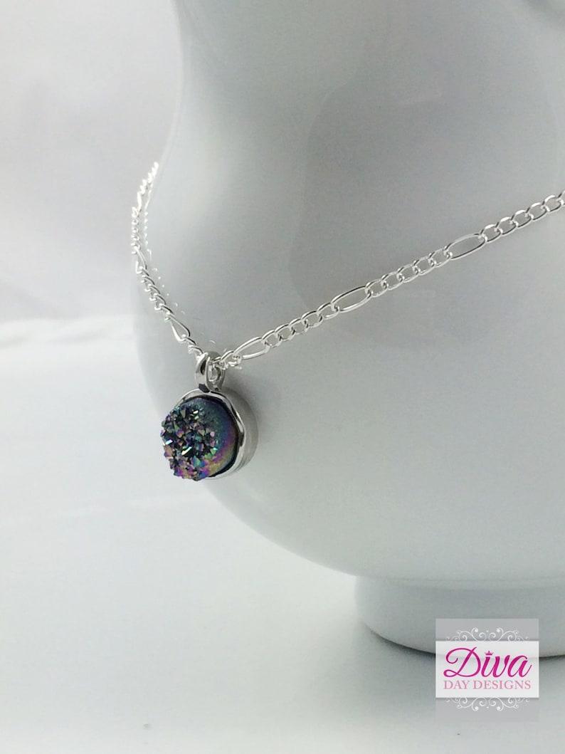 Druzy necklace Stone Necklace Gemstone necklace Crystal necklace 30 th birthday gift Druzy Black agate necklace 40th birthday gift