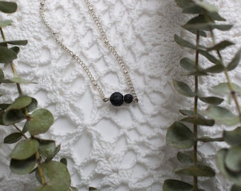 Dainty Lava stone essential oil diffuser necklace