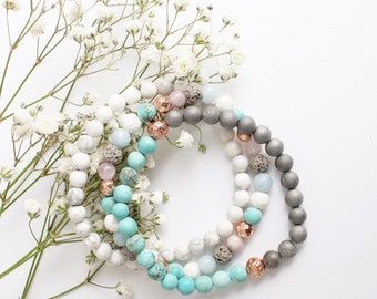 Lava stone essential oil diffuser stretchy bracelet with turquoise, grey ( with a touch of sparkle) , rose gold lava stones