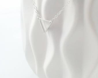 Triangle Necklace,  Silver Triangle Necklace, Open Triangle, Simple Triangle Necklace, Minimalist Jewelry, Simple Jewelry,