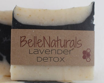 Lavender Detox - floral and detoxifying, activated charcoal bar is all natural, handmade, and moisturizing