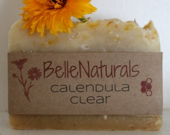 Calendula Clear - Gentle Moisturizing Bar Soap for All Skin Types, Garden soap, Infused Oils, Wildcrafted Herbs, Baby Soap