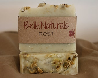Rest - earthy, slightly floral, chamomile rich, hippie soap. gentle for children and babies