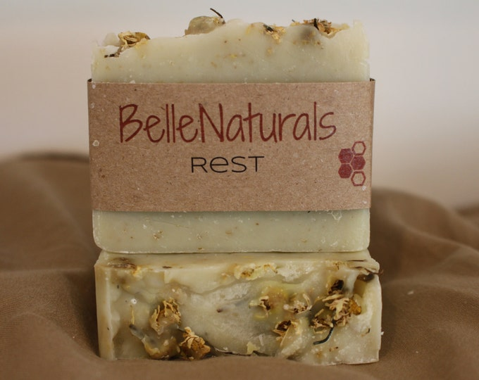 Featured listing image: Rest - earthy, slightly floral, chamomile rich, hippie soap. gentle for children and babies